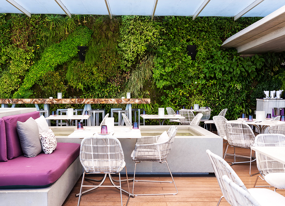 Juvia-Miami-Terrace-seating-and-green-wall