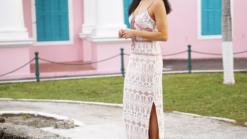 Beautiful Lace Nude Dress & Pink Buildings Bahamas