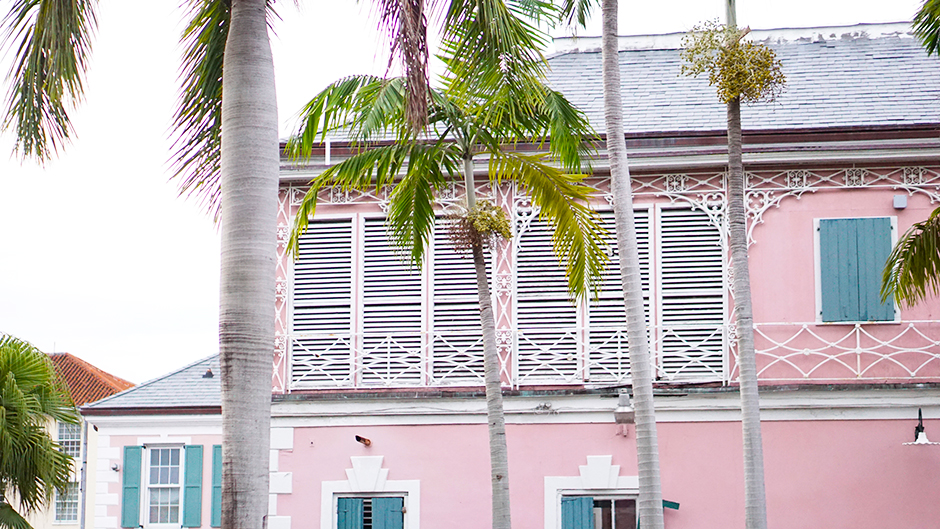 Pink Buildings in Bahamas