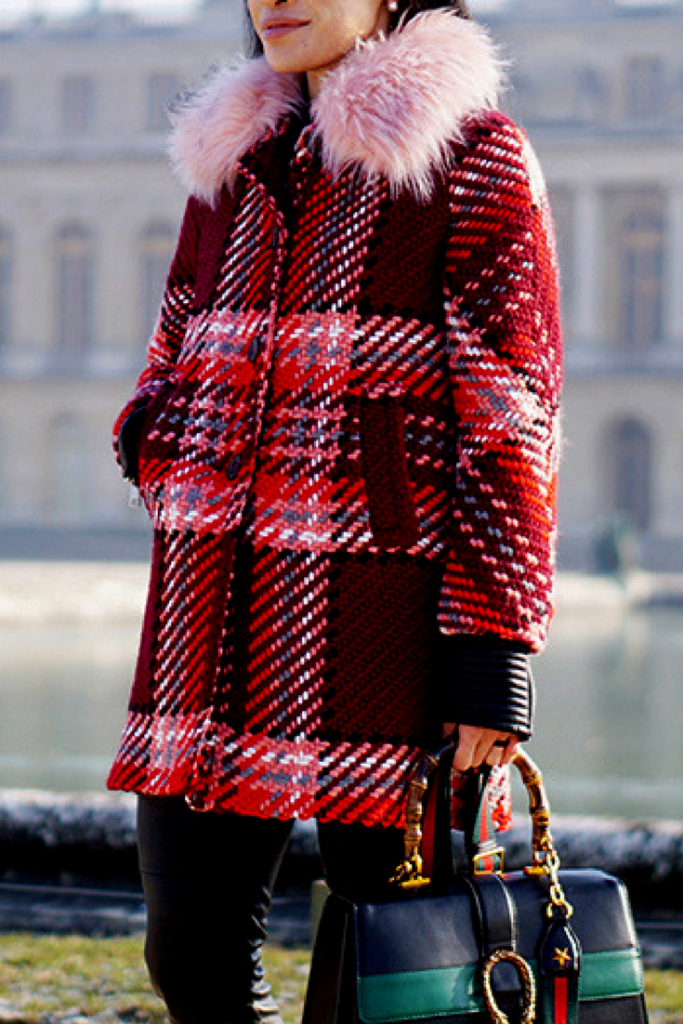 PINK FAUX FUR PLAID COAT GUCCI FASHION BLOG PARIS