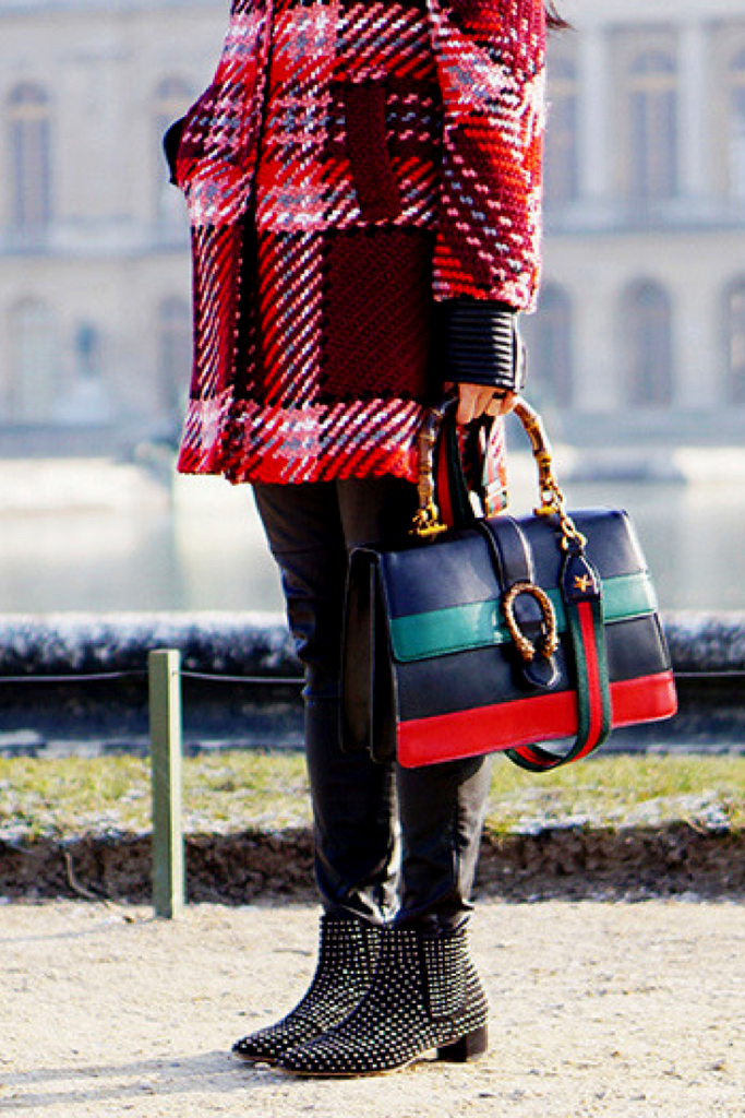 STUDDED BOOTS PLAID COAT GUCCI FASHION BLOG PARIS