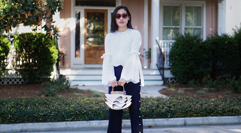 Ruffle Bag, Statement Sleeves & Pearl Pants | Style Blog | mikialamode.com