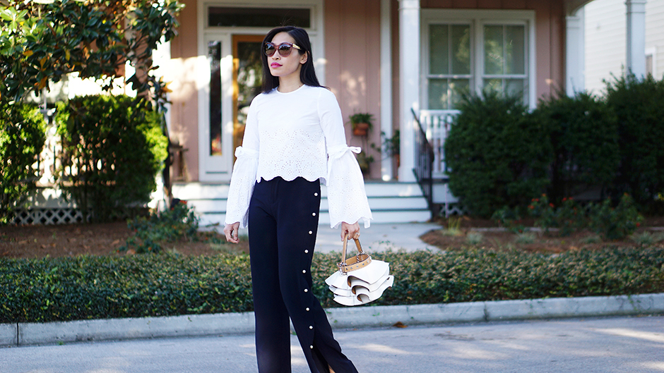 Ruffle Bag, Statement Sleeves & Pearl Pants | Style Blog | mikialamode.com