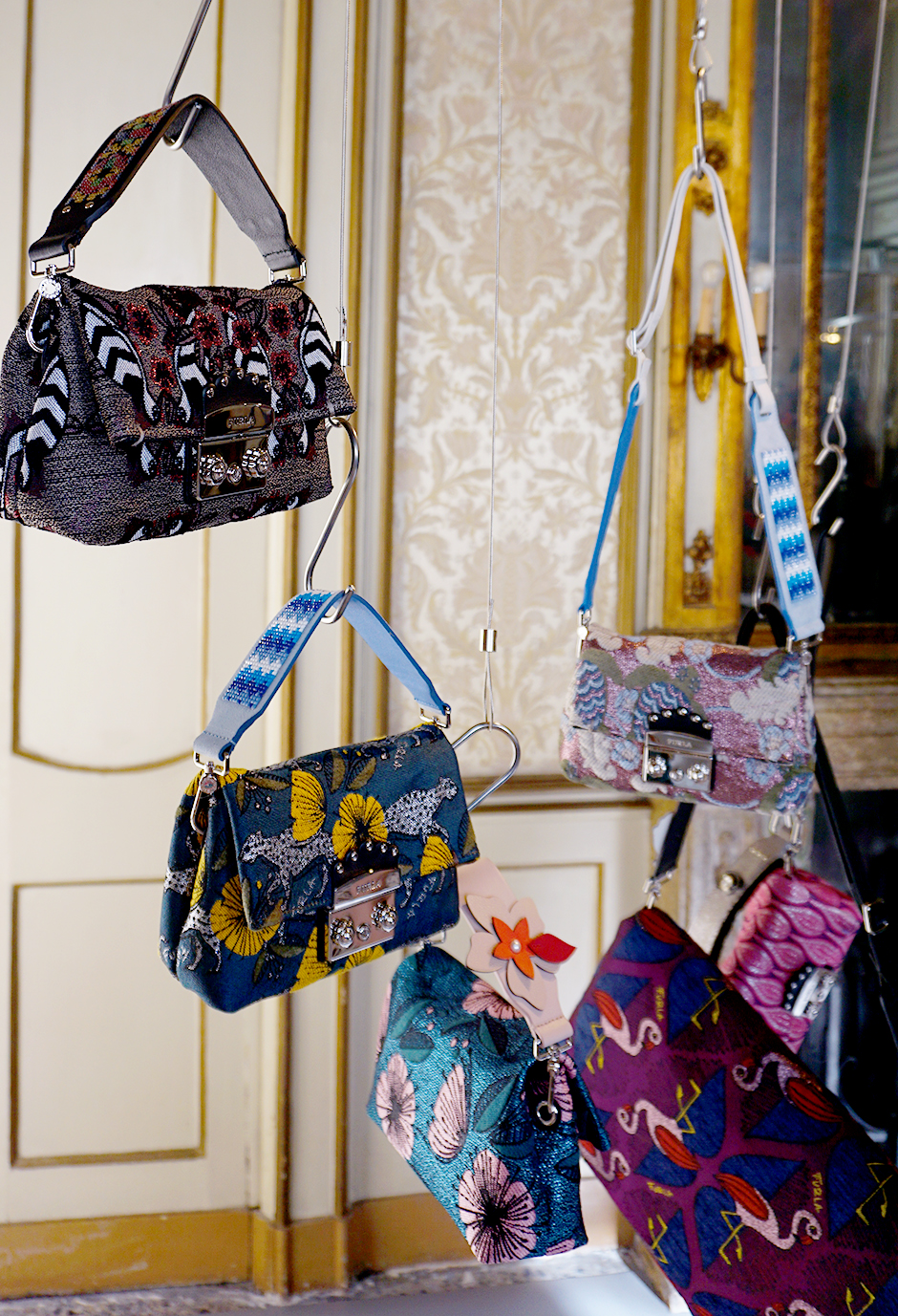 Furla Betailed Bag Straps Brocade Bags Milan Fashion Week