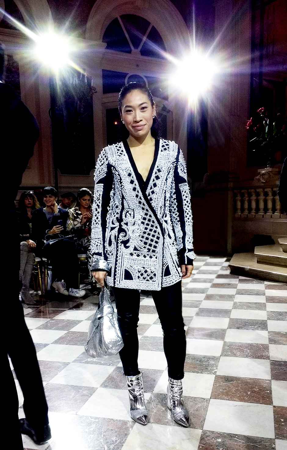 Paris Fashion Week Street Style Outfit #pearl #pearljacket #silverboots #streetstyle #outfit #pfw #pfw17 #ss18 #paris #fashionweek #runwayshow #trends #fashion #dresses #fashionblog #blogger #blog #fashionblogger #trends #fashiontrend #styleblog