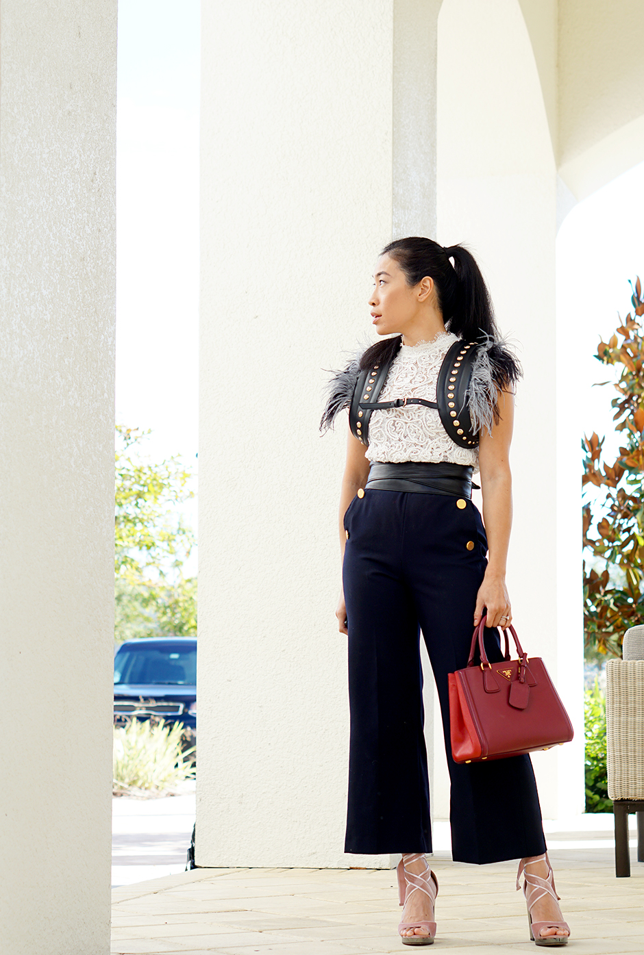 Street Style Outfit Inspiration Fall and Feather Accessories