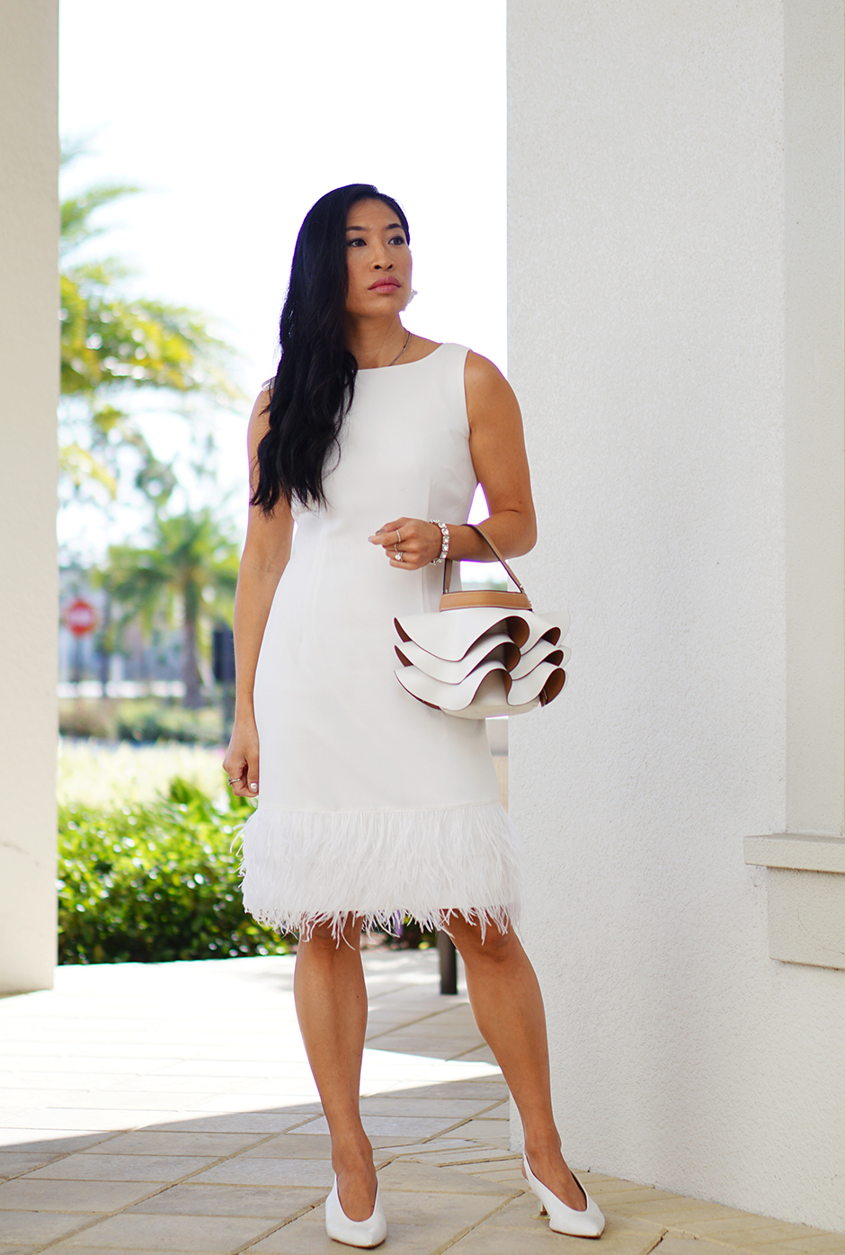 White Feather Hem Dress Fashion Blog Diner en Blanc