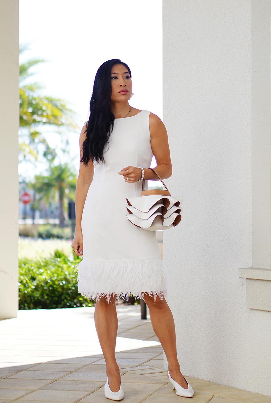 White Feather Hem Dress Fashion Blog Diner en Blanc