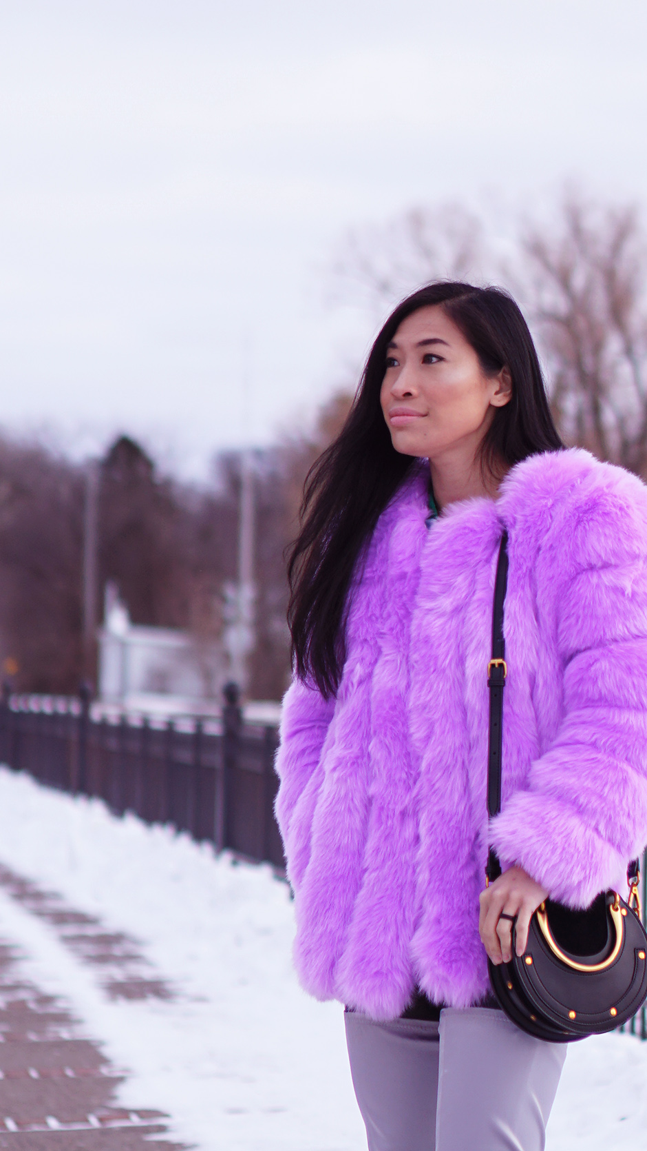 Purple Colored Faux Fur Coat - Tips on Increasing Quality of Life - #fashionblog #streetstyle #winteroutfit #winterlayering #wintercoat #fashiontrends #winterfashion #outfitinspiration #colorfulcoat #fauxfur #thighboots #chanelbeauty #chloeinspired
