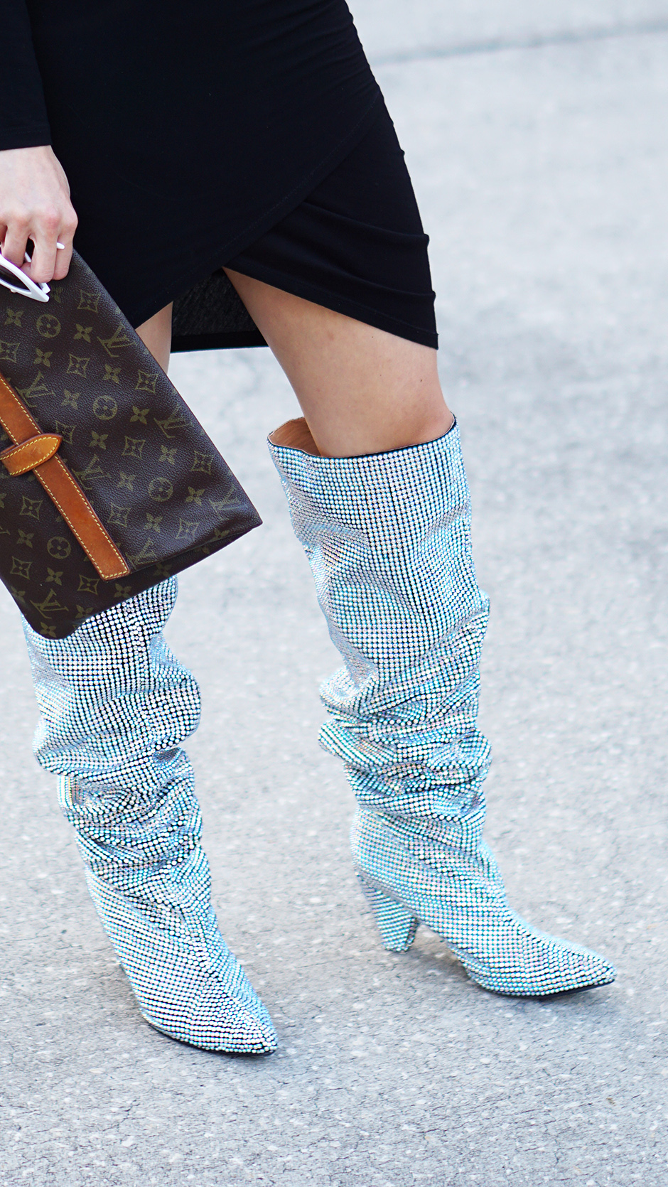 Rhinestone Glitter Boot Trend #streetstyle #ysl #saintlaurentboots #chanel #rhinestone #streetstyleinspiration #outfitinspiration #springsummertrends #summertrends #slouchboots #outfitinspiraiton #styleinspiration #dupes #runwaystyle #louisvuittonclutch #fashioninspiration #styledetails #shopthelook #outfits