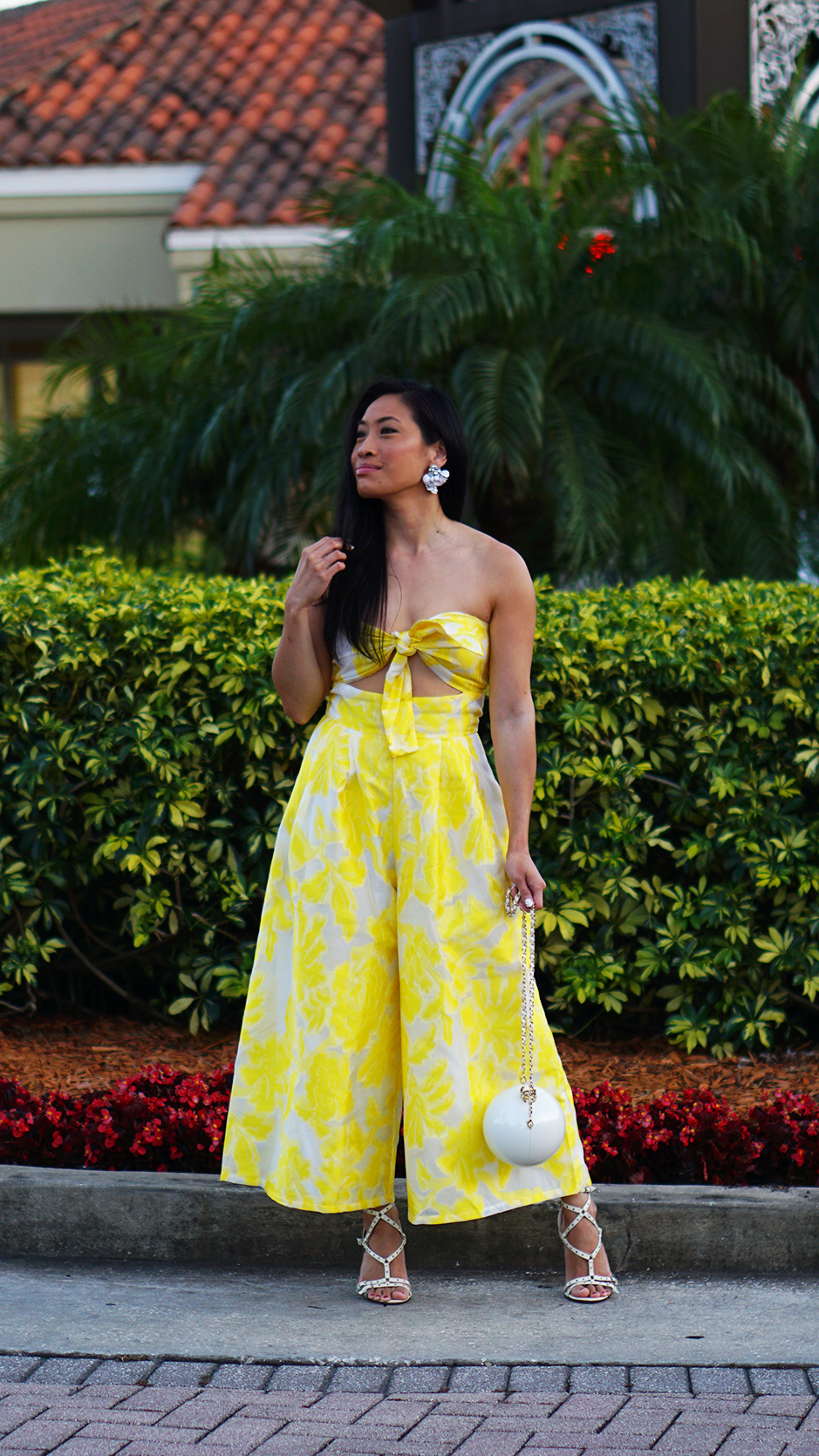 How to Elevate Your Outfit #styletips #outfittips #fashiontips #yellowjumpsuit #brocadedress #pearlbag #valentinorockstud #streetstyle #outfitideas #fashionblog #styleblog #fashionista #outfitdetails #howto #luxurious #stylefinds