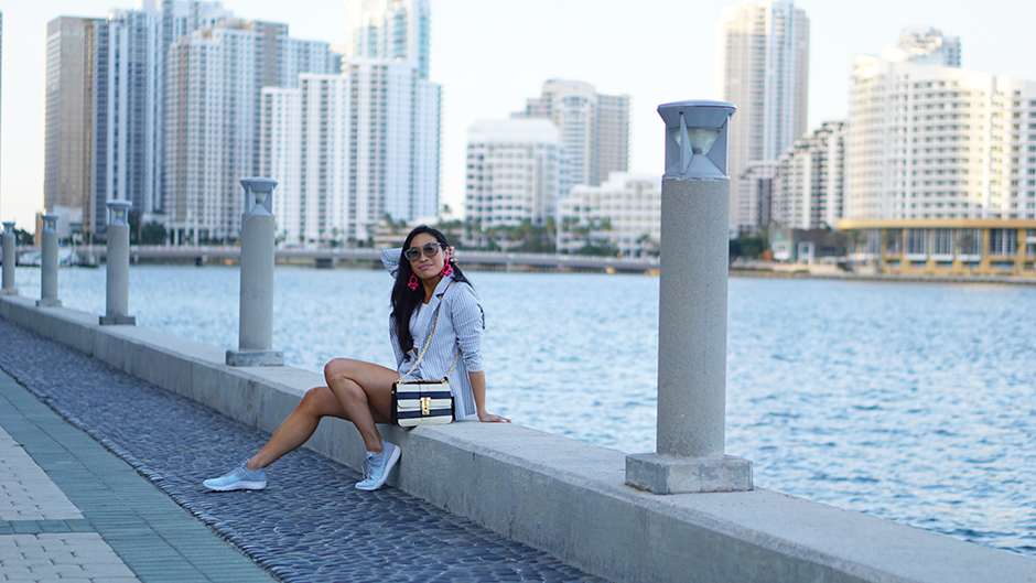 Stripe Suit Coordinated Set Spring Summer Street Style #fashionblogger #streetstyle #ootd #outfitideas #outfitinspiration #outfitideas #summeroutfits #springoutfits #valentinogarvani #nike #miumiu #styleblogger #stylishideas #styleinspo #outfits #miami #miamistyle #florida