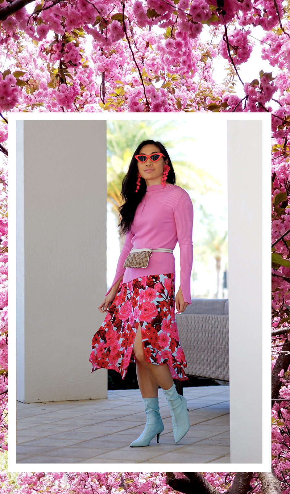 Street Style Spring Summer Outfit Inspiration - Sock Boots, Scarft Asymmetrical Floral Skirt and Micro Sunnies - Inspiring Quotes on Beauty to Live By - #fashionblog #outfitideas #outfitinspiration #outfitinspo #streetstyle #streetfashion #stylishoutfit #stylishspringoutfit #officeoutfit #officestyle #stylish