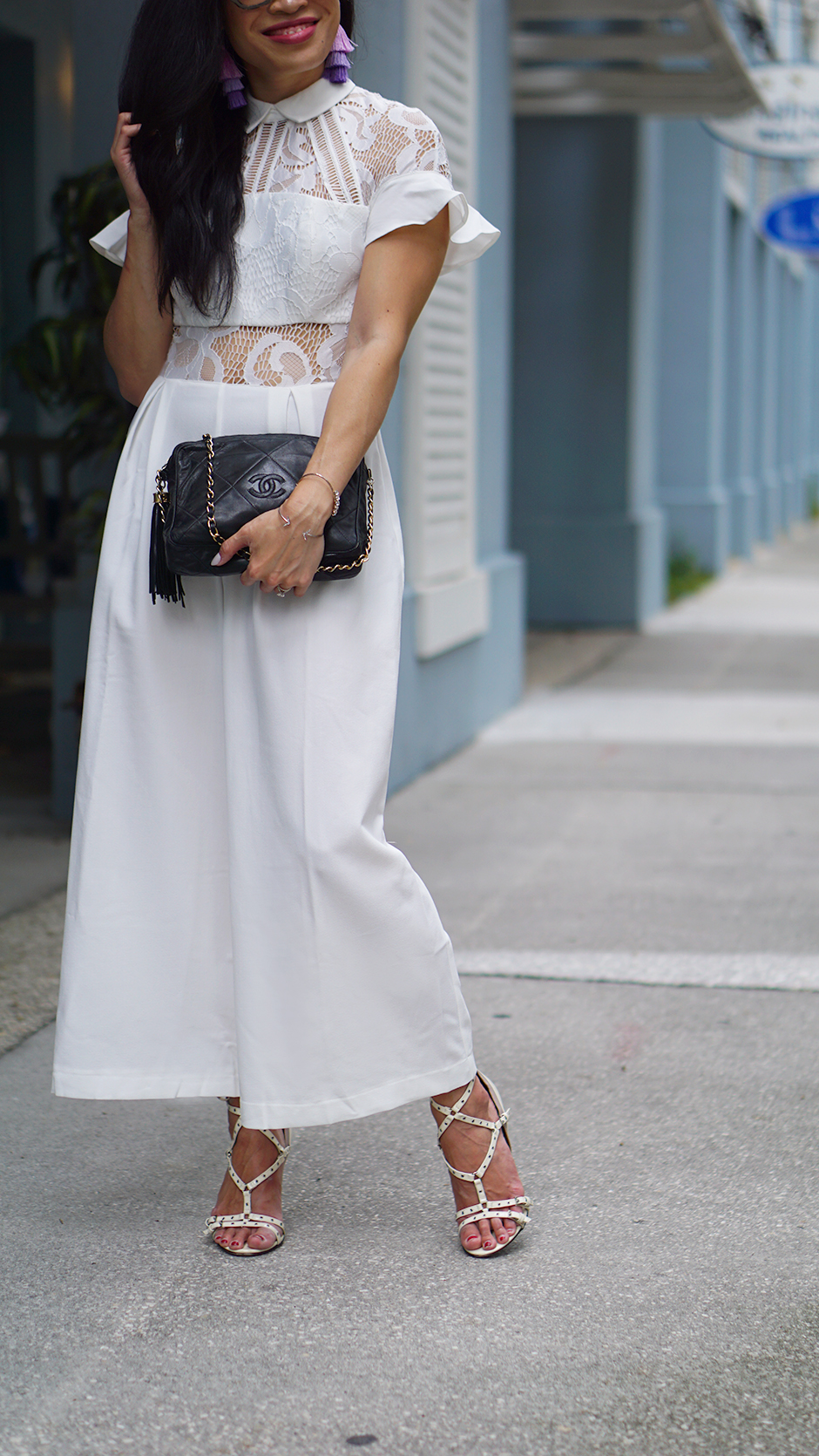 Stylish Classic Pieces You Should Inveswt In #fashionblog #styleblog #streetstyleblog #streetstyle #classic #outfit #outfitinspo #ootd #whitejumpsuit #whiteoutfit #chanel #valentino #gucci #styledetails