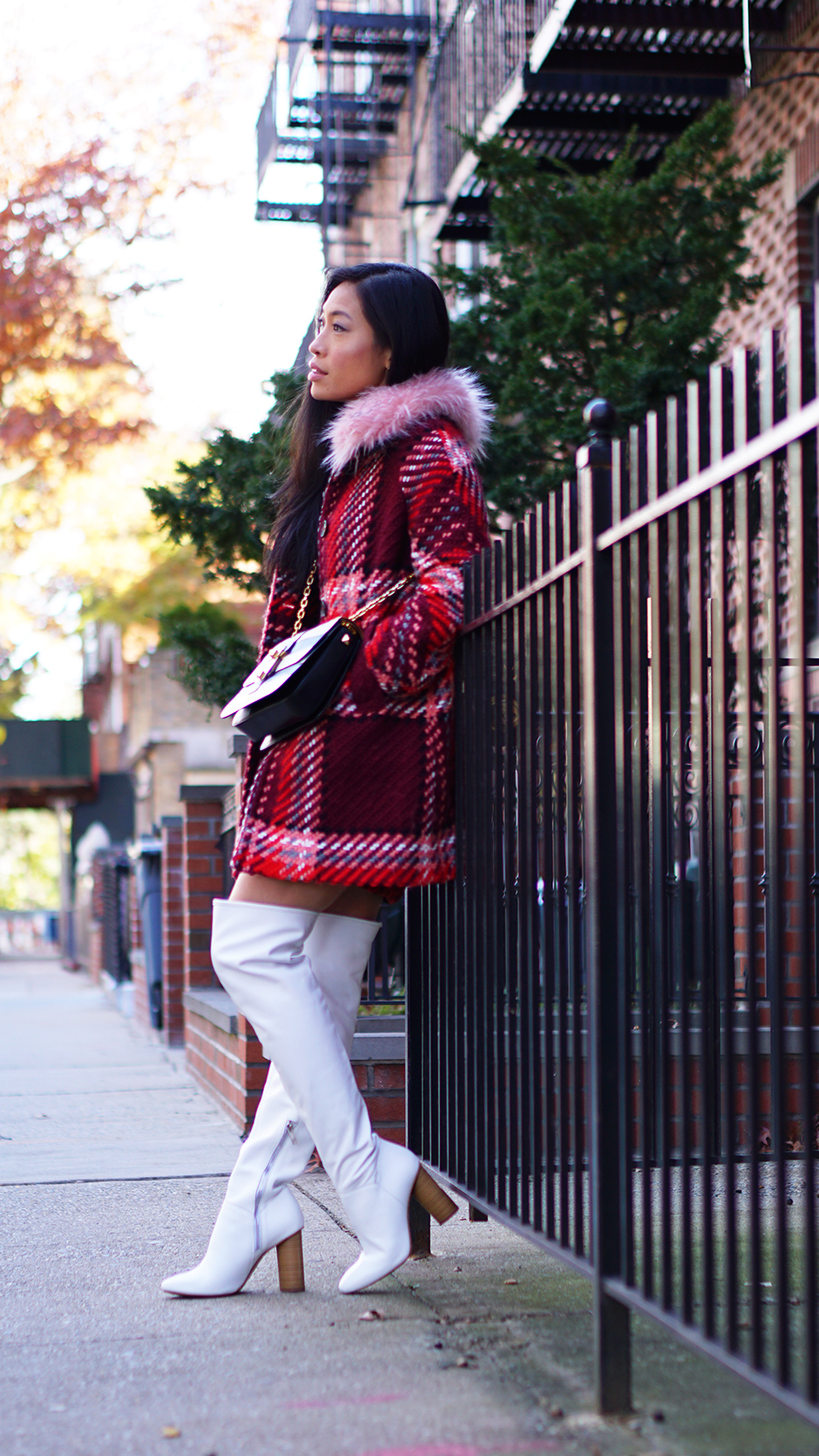 Perfect White Thigh Boots #fashionblogger #whiteboots #thighboots #leatherboots #streetstyle #streetfashion #newyork #newyorkblogger #newyorkinfluencer #newyorker #newyorkcity #fauxfur #plaidcoat #plaidtrend #whiteleather #valentino #valentinobrockstud #valentinogaravani #outfitideas #outfitinspo #outfitinspiration #streetfashion #zara #zaraoutfit